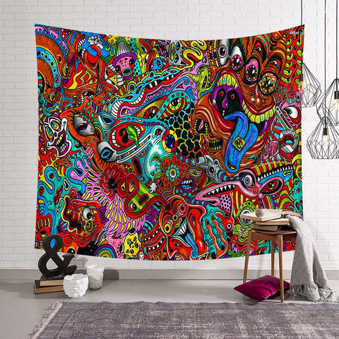 Psychedelic Trippy Drawing Abstract Ghost Eye Tapestry
