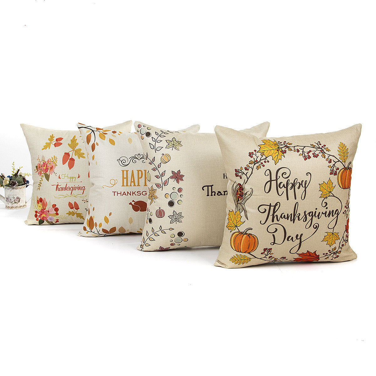 Pumpkin With Quotes Thanksgiving Day Throw Pillow Cover