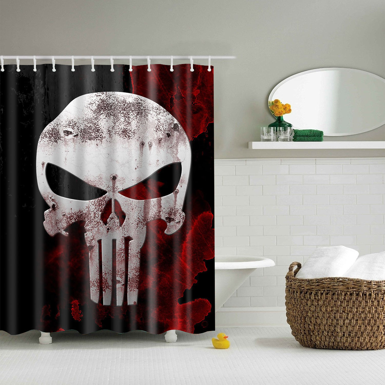 Punisher Shower Curtain Red And Black Bath Decor