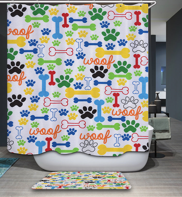 Puppy Paw Print Dog Bones Shower Curtain