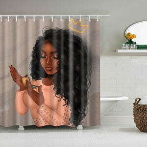 Purple Afro Black Girl Makeup with Lace Hairstyle Girly Shower Curtain