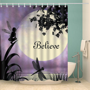 Purple Fairy Dragonfly with Moonlight Believe Shower Curtain