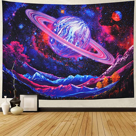 Purple Trippy Planet Starry Space Galaxy Tapestry