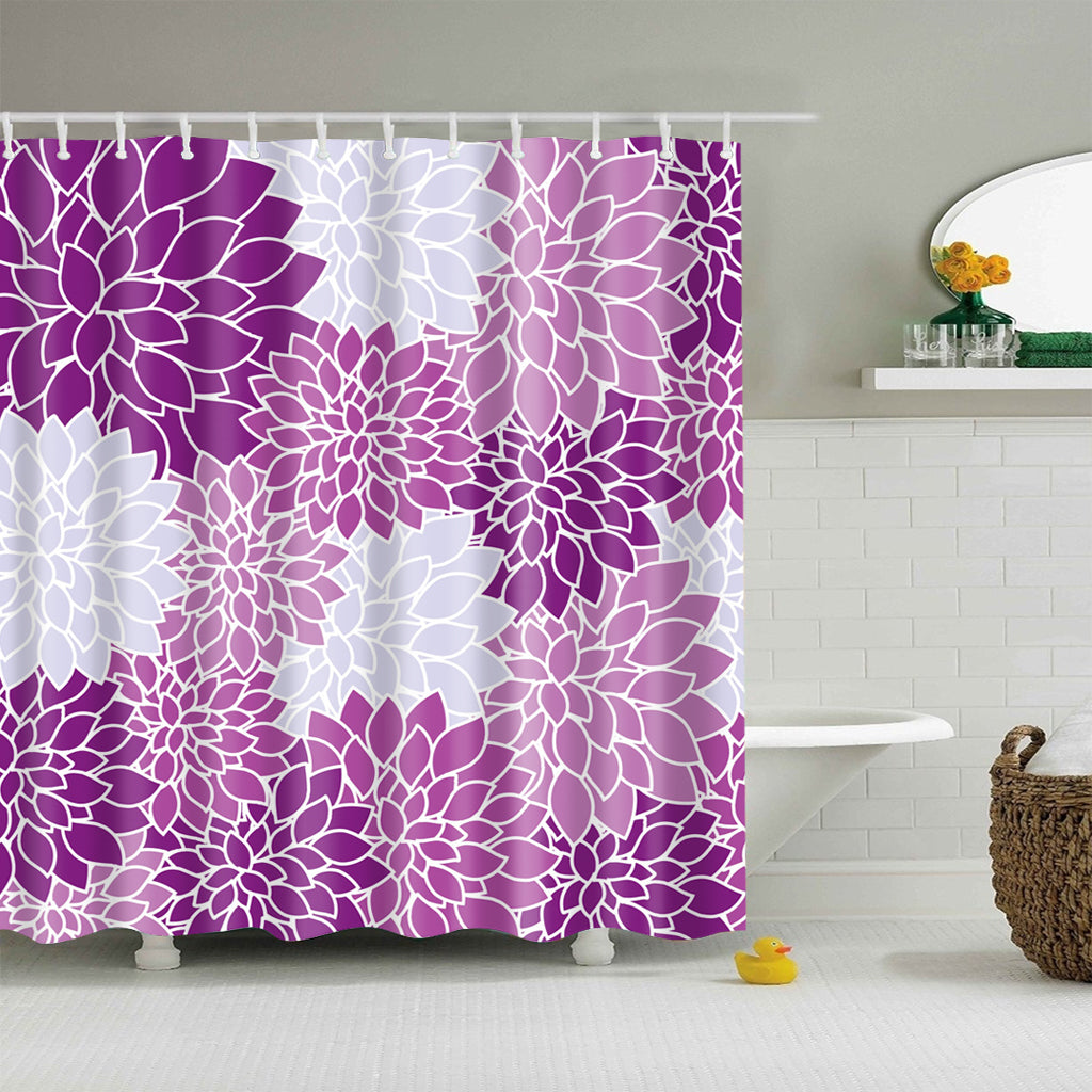Purple Dahlia Flower Pattern Shower Curtain