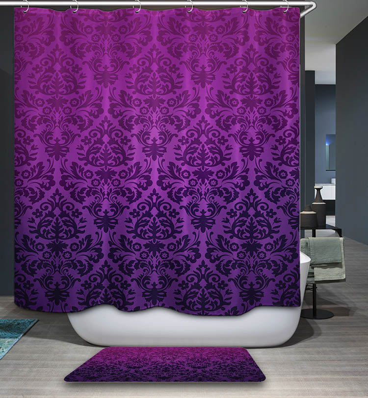 Purple Floral Damask Pattern Shower Curtain