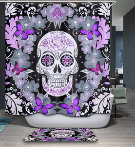 Purple Sugar Skull with Butterfly Shower Curtain