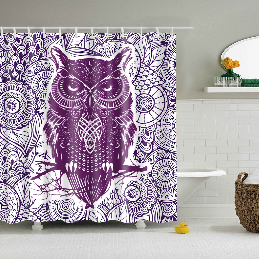 Purple Warrior Owl Art Shower Curtain | GoJeek