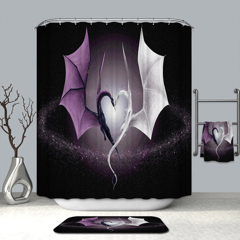 Purple with White Dragon Heart Dance Shower Curtain