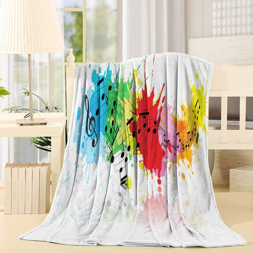 Rainbow Color Music Note Throw Blanket