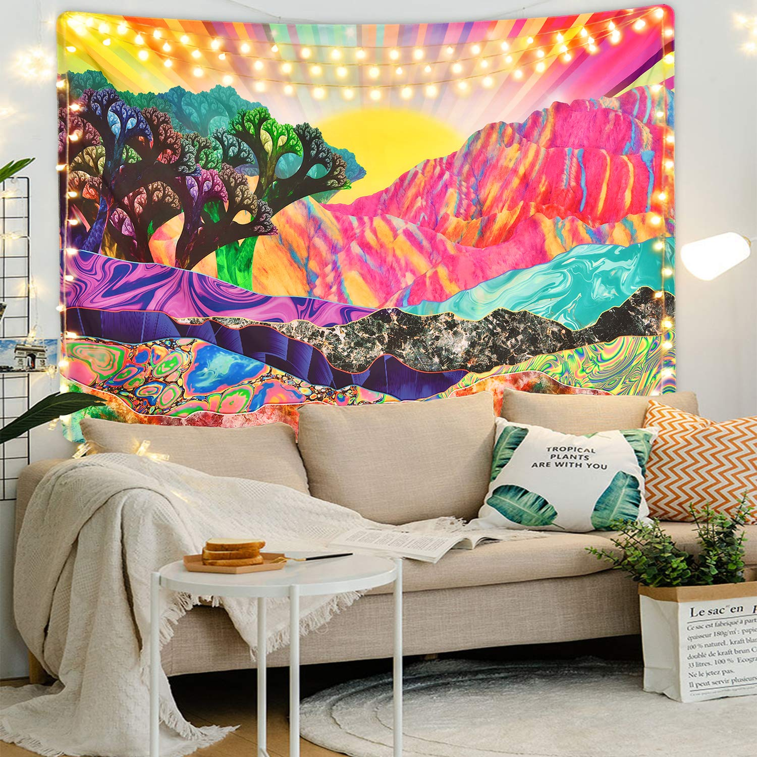 Rainbow Color Trippy Mountain with Morning Sun Tapestry