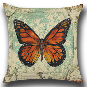 Raising Monarch Butterfly Painting Throw Pillow Cover