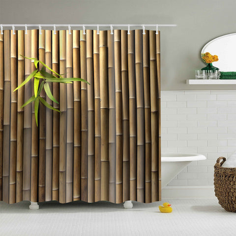 Real Bamboo Wall Fabric Print Shower Curtain
