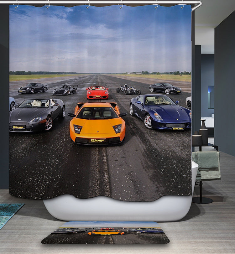 Real Picture Highway Race Car Shower Curtain