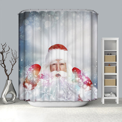 Real Santa Blowing out Snowflake Shower Curtain