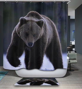 Real Wildlife Big Black Bear Shower Curtain