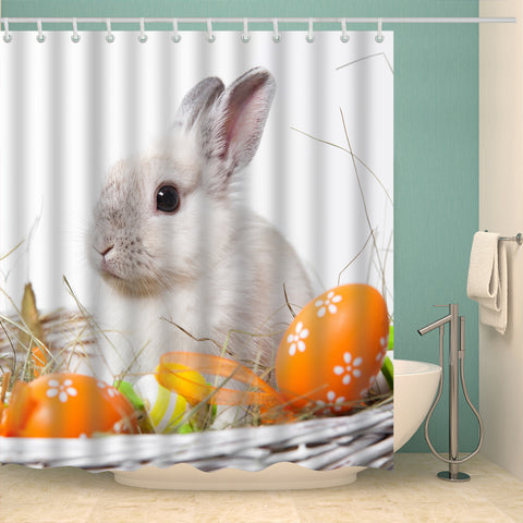 Realistic Cute Rabbit with Easter Eggs in Basket Shower Curtain
