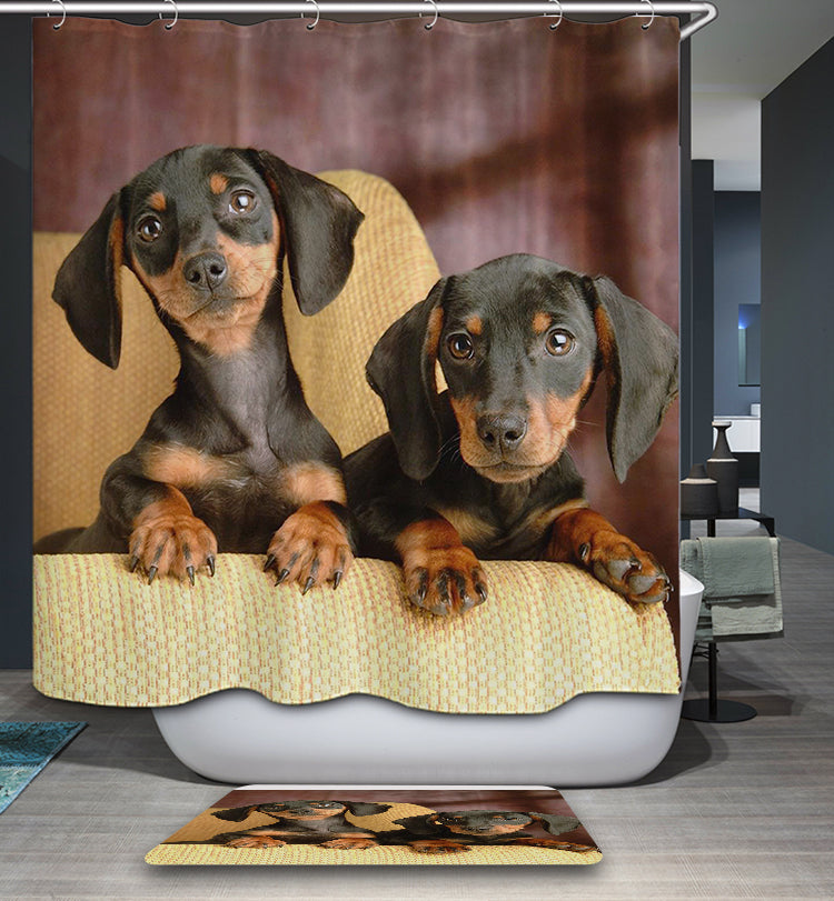 Realistic Lovely Dachshund Shower Curtain