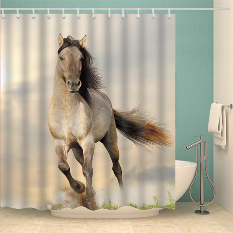 Reallife Animal White Running Horse Shower Curtain
