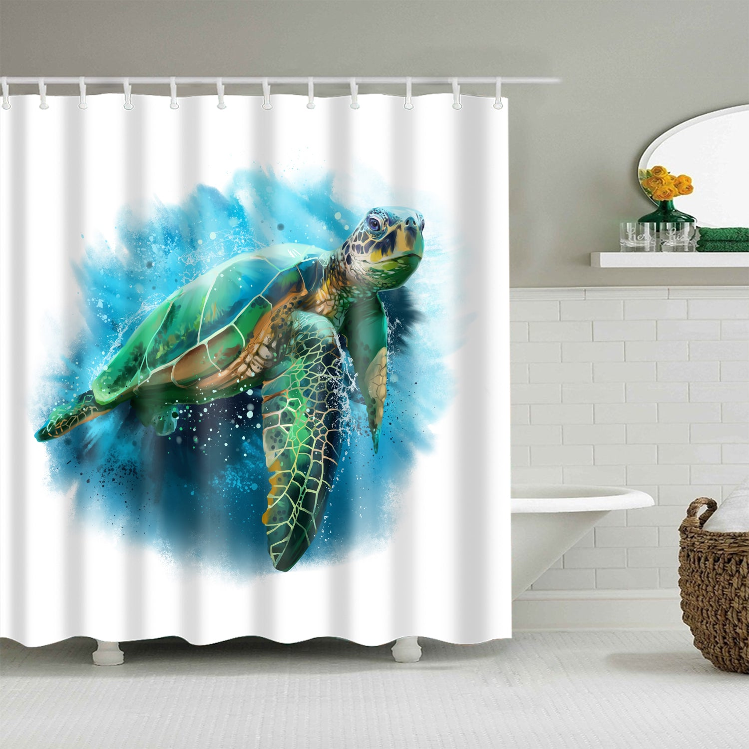 Reallife Coral Watercolor Sea Turtle Shower Curtain