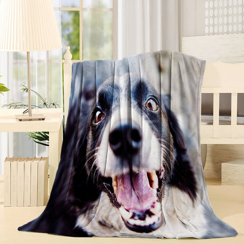 Reallife Cute Dog Face Throw Decke