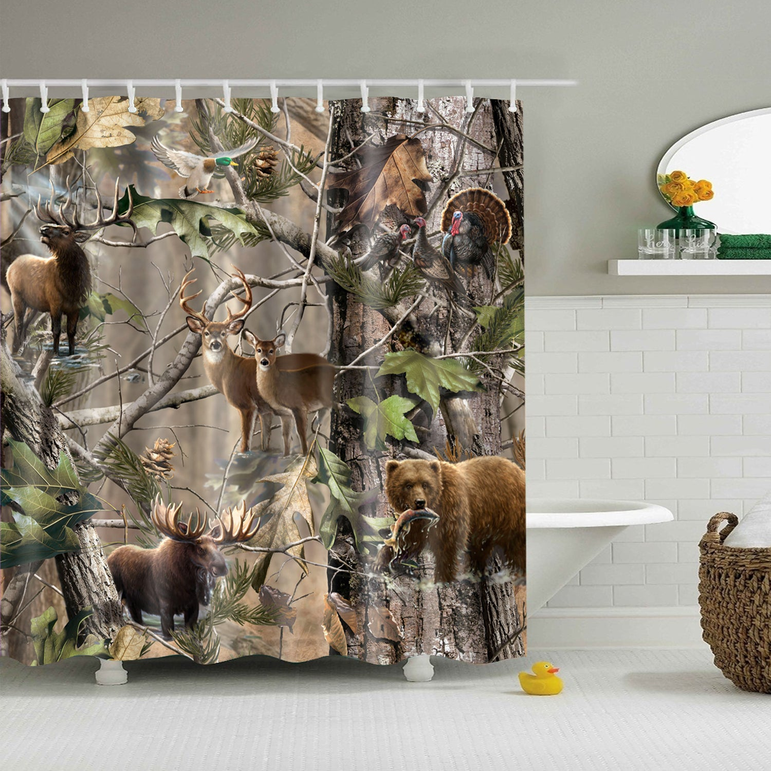 Realtree Wildlife Animal Camo Shower Curtain | GoJeek