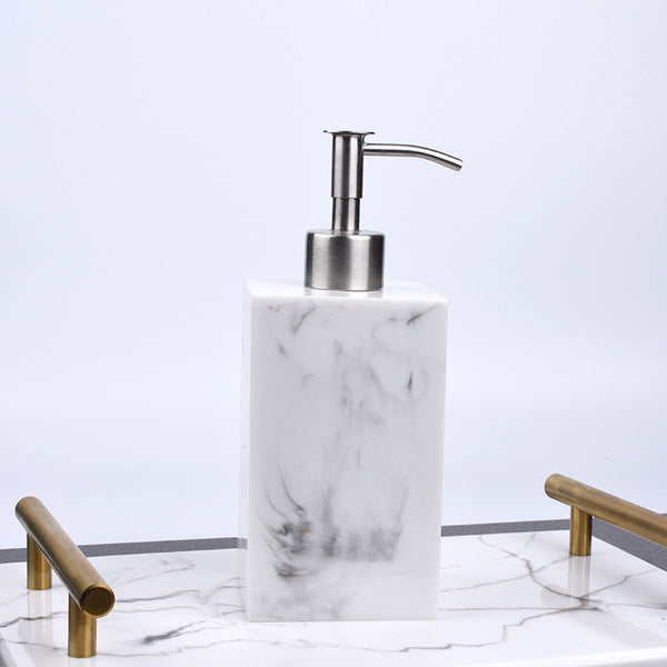Rectangle Resin Liquid Marble Print Soap Dispenser White