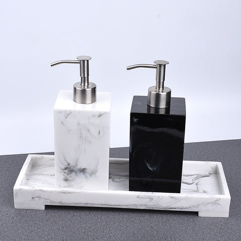 Rectangle Resin Liquid Marble Print Soap Dispenser