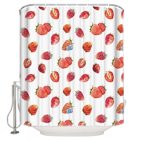 Red Fruit Seamless Style Strawberry Shower Curtain