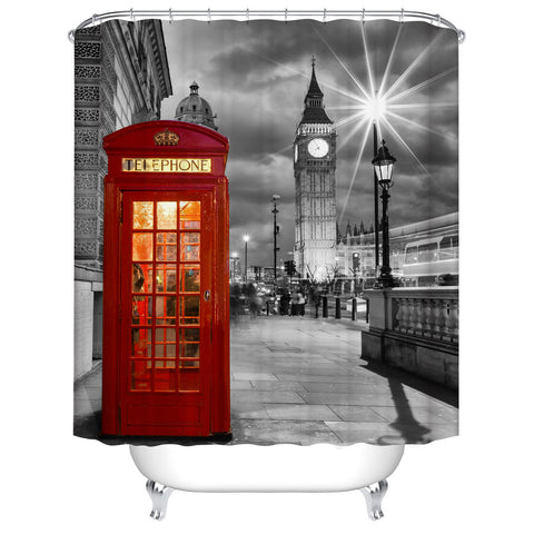 Red Telephone Booth Grey Retro Big Ben England Travel Bathroom Decor London Shower Curtain