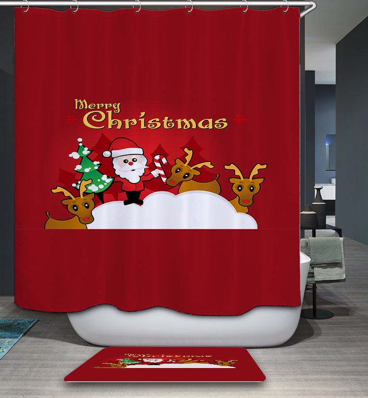 Red Backdrop Merry Christmas Quotes Shower Curtain