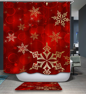 Red Backdrop Rose Gold Snowflake Shower Curtain