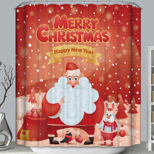 Red Backdrop Snowy Day Santa With Bunny Rabbit Shower Curtain