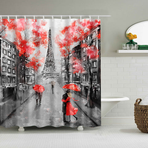 Red Black Oil Painting Romantic Red Umbrella Paris City Shower Curtain