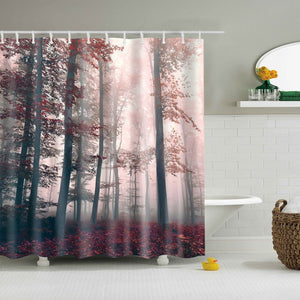 Red Enchanted Forest Woodland Shower Curtain