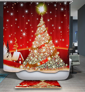 Red Gold and Shiny Christmas Tree Shower Curtain
