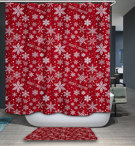 Red Merry Christmas Quotes with White Snowflake Shower Curtain
