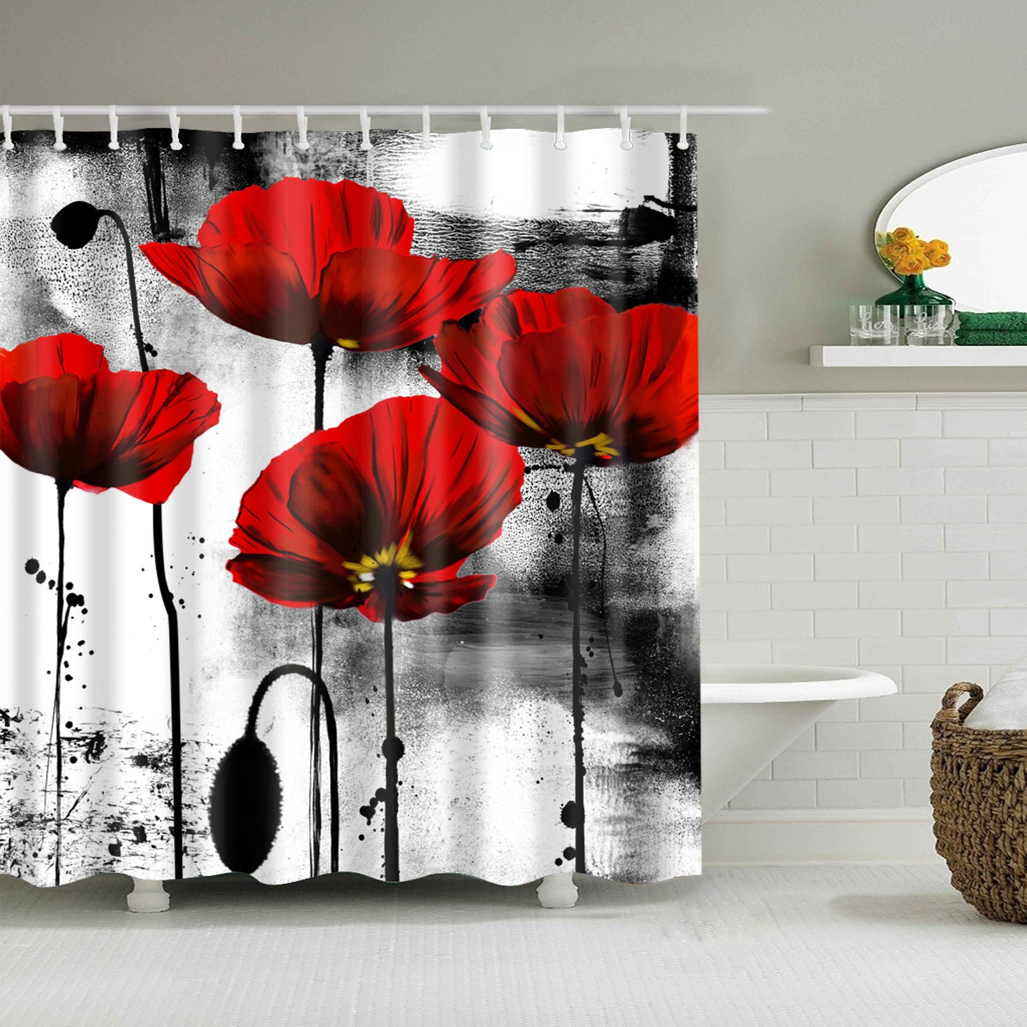 Red Poppies Ink Print Shower Curtain