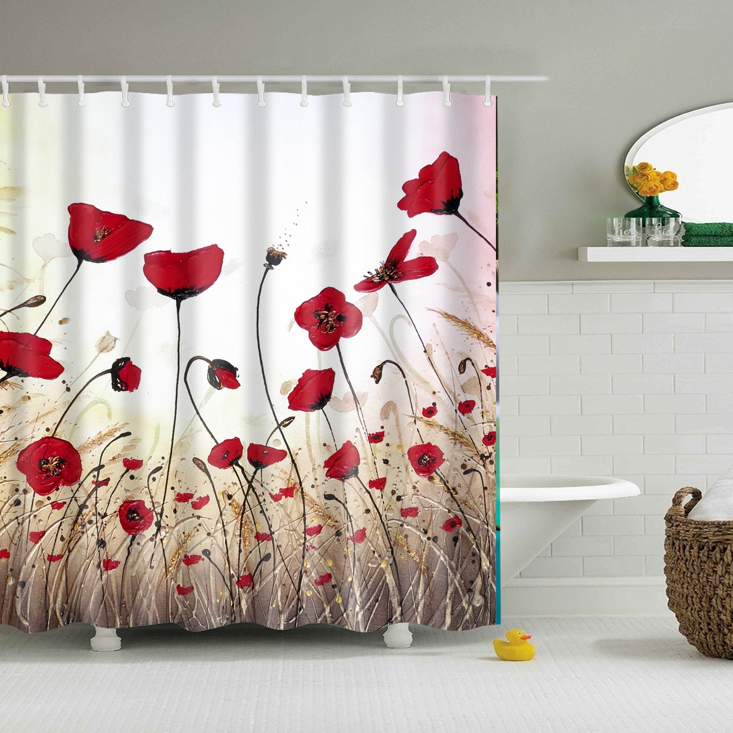 Red Poppy Field Nature Shower Curtain