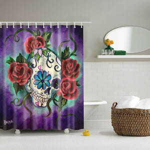 Red Rose Sugar Skull Shower Curtain | GoJeek