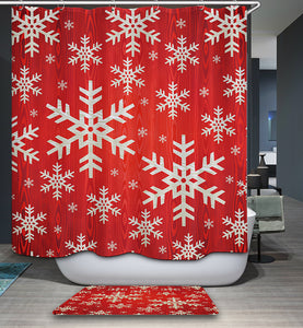 Red White Christmas Snowflake Shower Curtain