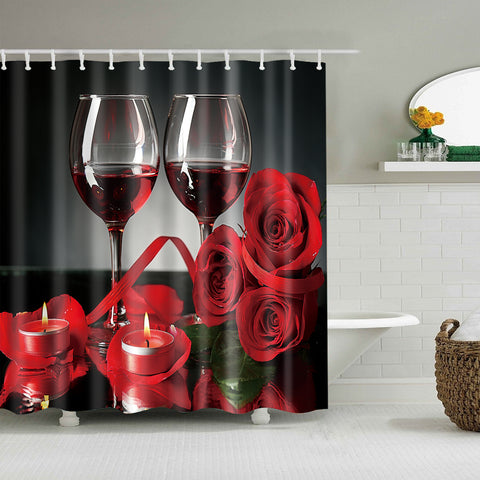 Red Wine Rose Candle Valentine Romantic Shower Curtain
