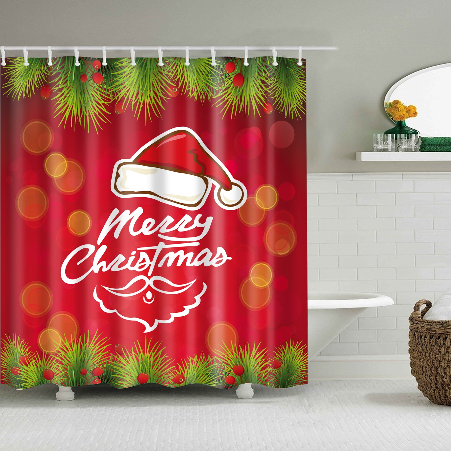 Red and Green Backdrop Christmas Quotes Shower Curtain