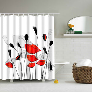 Red and White Poppy Field Shower Curtain