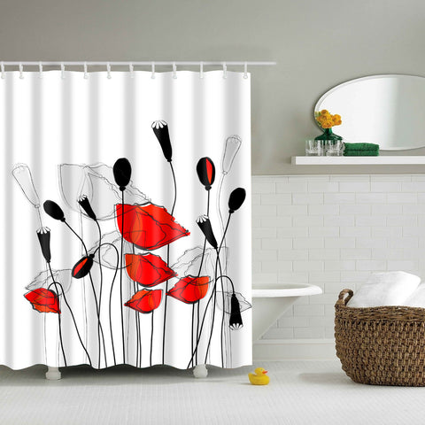 Rosso e White Poppy Field Shower Curtain