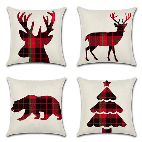 Red and Black Buffalo Plaid Christmas Decor Throw Pillow Cover