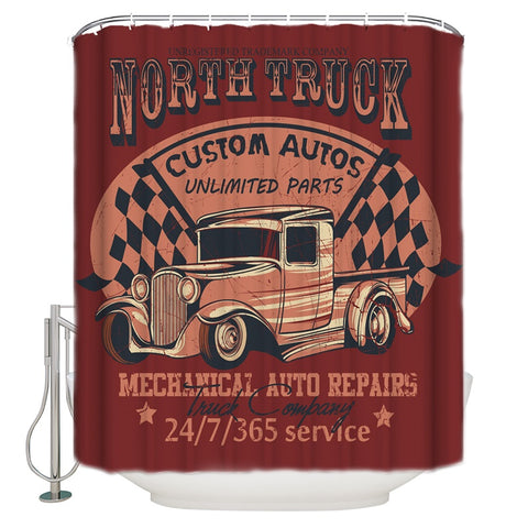 Retro Cars Truck Repair Signs Art Shower Curtain