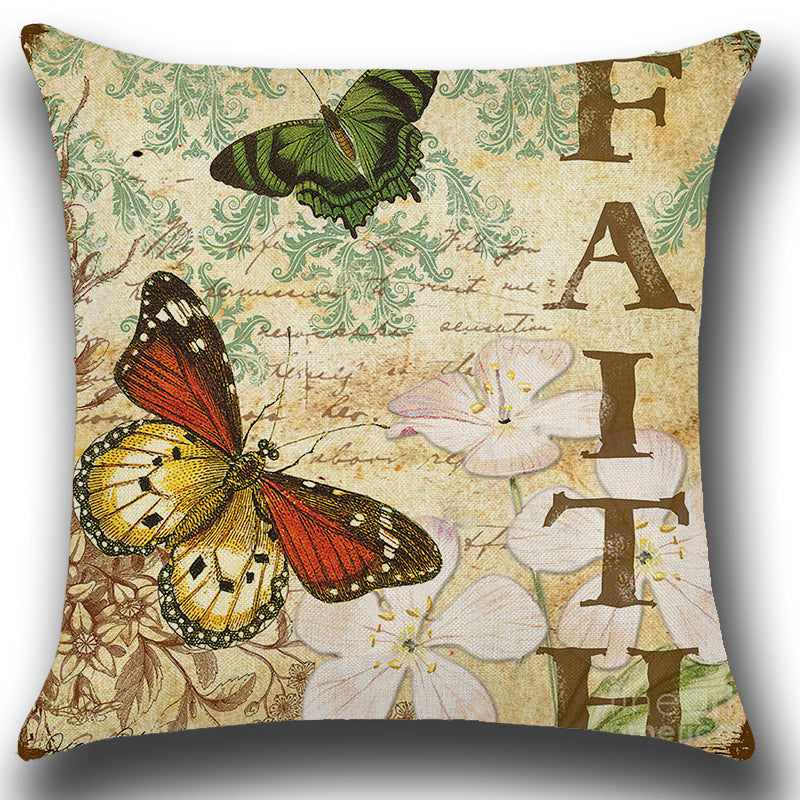 Retro Butterfly with Fate Quote Throw Pillow Cover