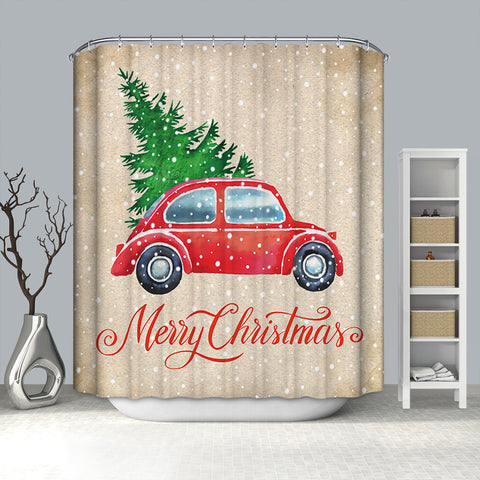 Retro Farmhouse Style Red Truck Christmas Tree shower curtain