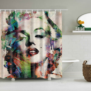 Retro Oil Painting Colorful Marilyn Monroe Paintings Shower Curtain