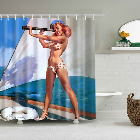 Retro Pinup Sailor Girl Telescope Shower Curtain